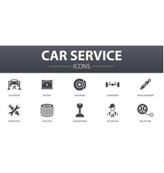 Car service simple concept icons set contains vector