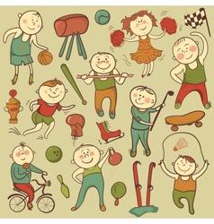 Cartoon cute sport players vector