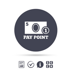 Cash and coin sign icon pay point symbol vector
