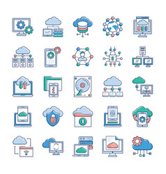 cloud technology icons vector image