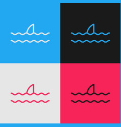 Color line shark fin in ocean wave icon isolated vector