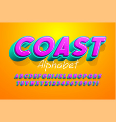 colorful 3d display font design alphabet letters vector image