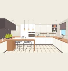contemporary kitchen interior empty no people vector image