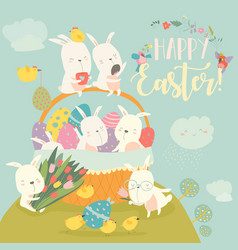 cute easter bunnies and easter egg happy holidays vector image
