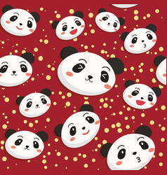 Cute panda head seamless pattern red vector