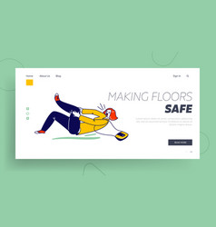 danger accident slip and stumble landing page vector image