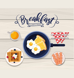 Delicious fried eggs with bacons and waffles vector