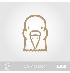 Dove outline thin icon Animal head symbol vector image