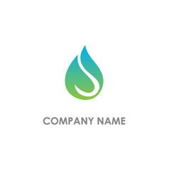 droplet bio eco leaf logo vector image