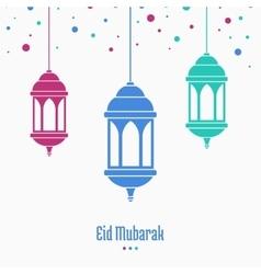 Eid mubarak greeting card lamp on blurred vector