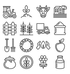 farm icons set on white background line style vector image