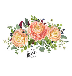 Floral card design garden peach rose ranunculus vector