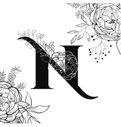 Flower alphabet letter n pattern vector