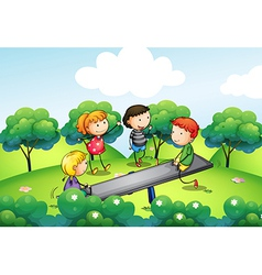 Four kids playing with seesaw at hill vector
