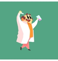 Funny scientist in lab coat walking with two test vector