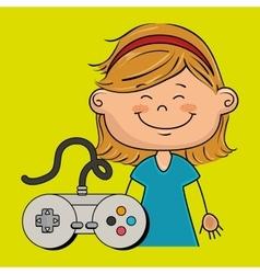 Girl game control icon vector