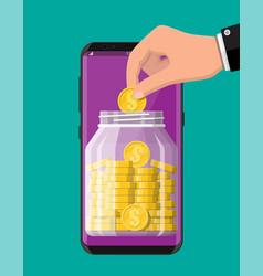 glass jar full money on smartphone vector image