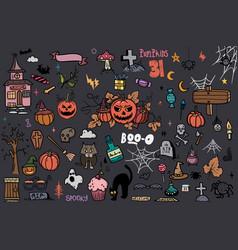halloween doodle set creative design vector image