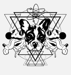 Hand drawn bulldog with frogs vector