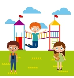 Happy kids playing vector