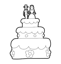 Holiday cake icon outline style vector