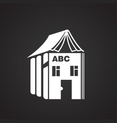 house of alphabet on black background vector image