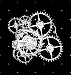 image of the clockwork for t-shirt apparel vector image