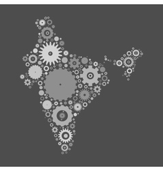 India map silhouette mosaic of cogs and gears vector image
