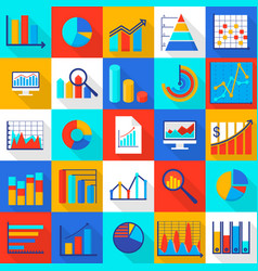 infographic elements icons set flat style vector image