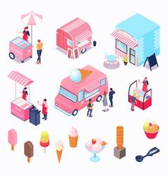 Isometric ice cream set vector