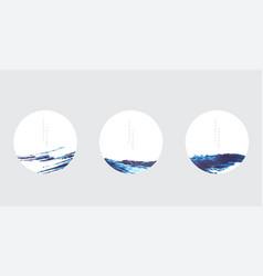 japanese background with blue brush stroke vector image