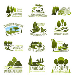 landscape design company icon with green tree vector image