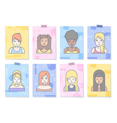 linear flat people faces icon set vector image