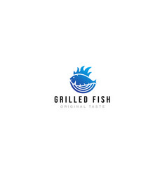 logo grilled fish restaurant vector image