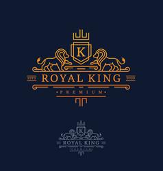 luxury royal lion king logo design inspiration vector image