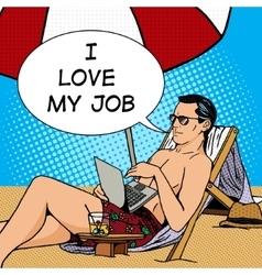 Man work on beach with laptop pop art vector