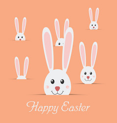 Many easter rabbits with text happy easter isolate vector