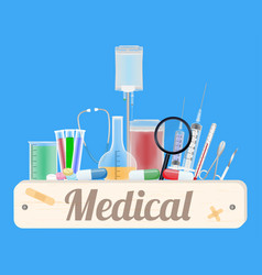 medical wood board with medical equipment vector image