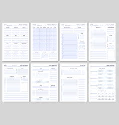 minimalist planner pages templates organizer page vector image