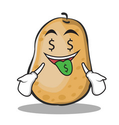 money mouth potato character cartoon style vector image
