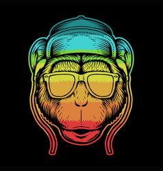 Monkey head colorful vector