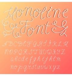 monoline modern font script made one line vector image