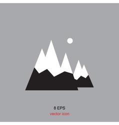 Mountain icons isolated vector