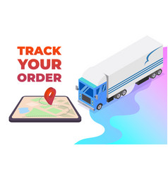 Order tracking app for tablet or smartphone with vector
