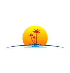 Palm tree sunset tropic travel logo vector