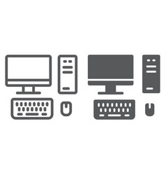 pc line and glyph icon technology and computer vector image