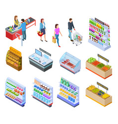 people isometric store shopping grocery market vector image