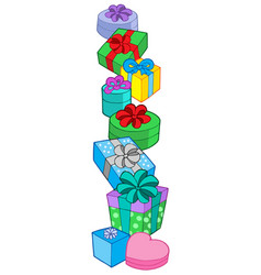 Pile of various colors gifts vector