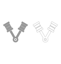 Pistons grey set icon vector