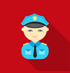 policeman flat icon for web and vector image